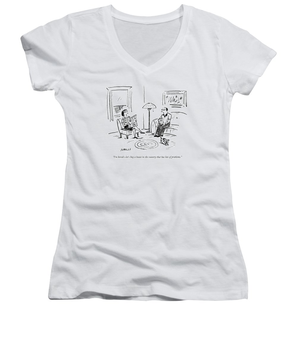 Flip Women's V-Neck featuring the drawing A Man And A Woman Talk In Their Living Room by David Sipress