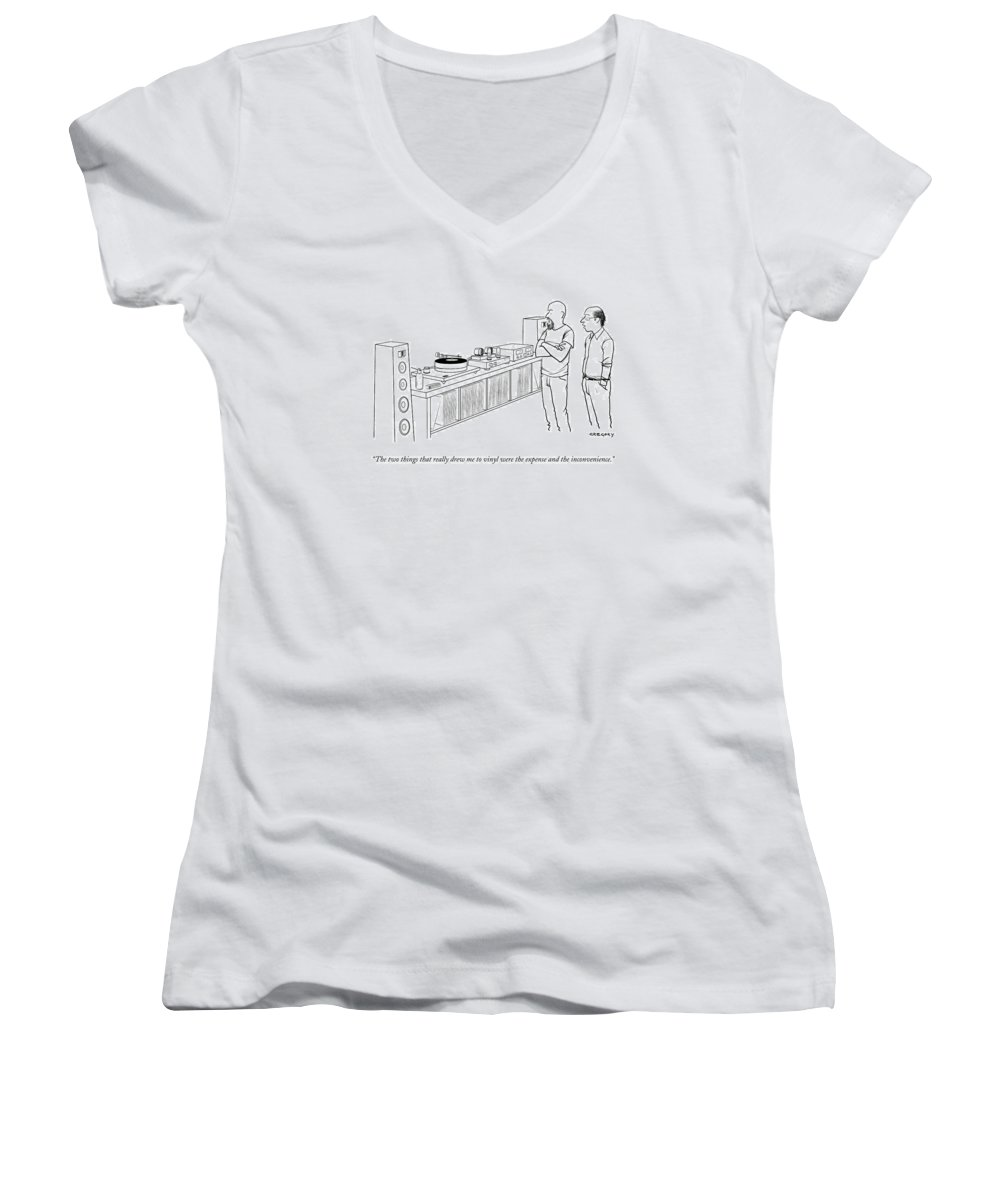 Records Women's V-Neck featuring the drawing A Man Shows Another Man His Extensive Collection by Alex Gregory
