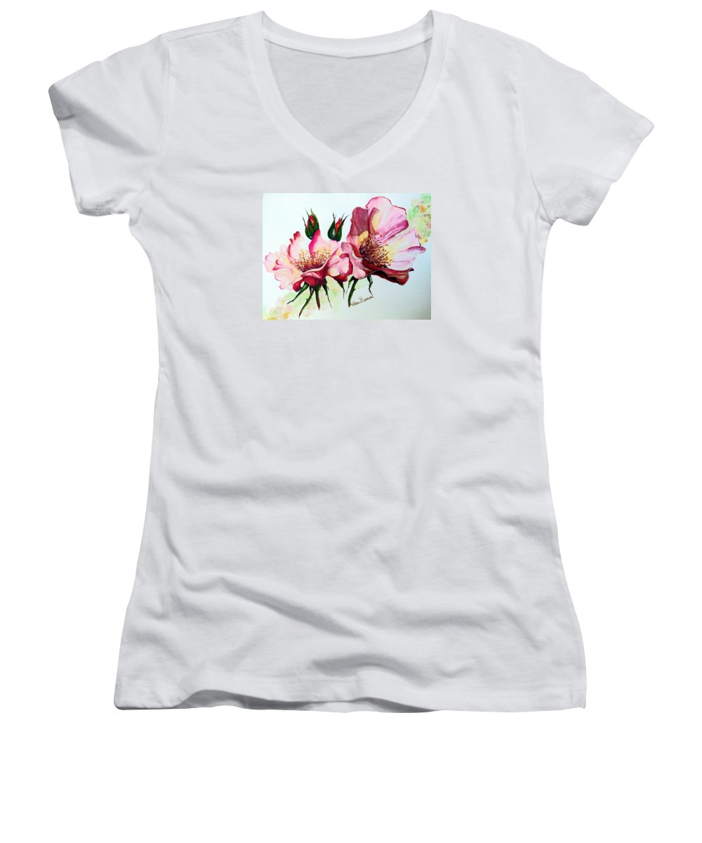 Flower Painting Women's V-Neck (Athletic Fit) featuring the painting A Rose Is A Rose by Karin Dawn Kelshall- Best