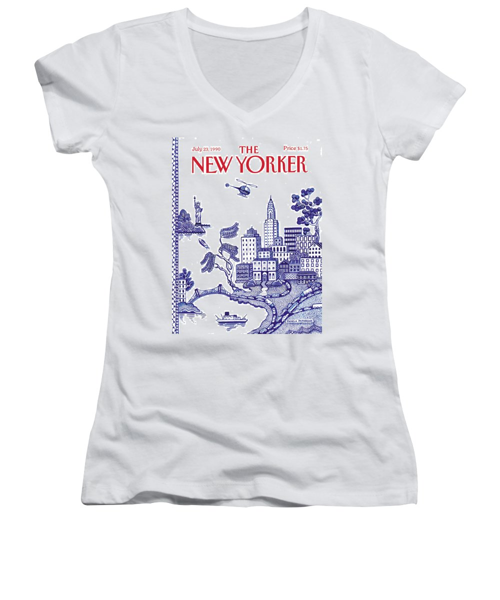 New York City Women's V-Neck featuring the painting New Yorker July 23, 1990 by Pamela Paparone