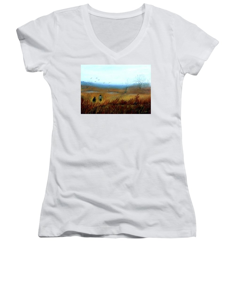 Figures Women's V-Neck T-Shirt featuring the painting A Winter Walk by Gail Kirtz