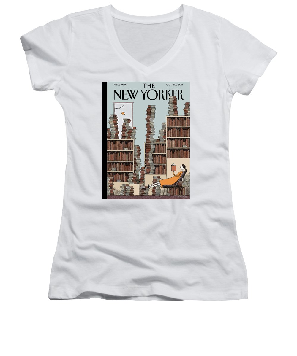 Books Women's V-Neck featuring the painting Fall Library by Tom Gauld