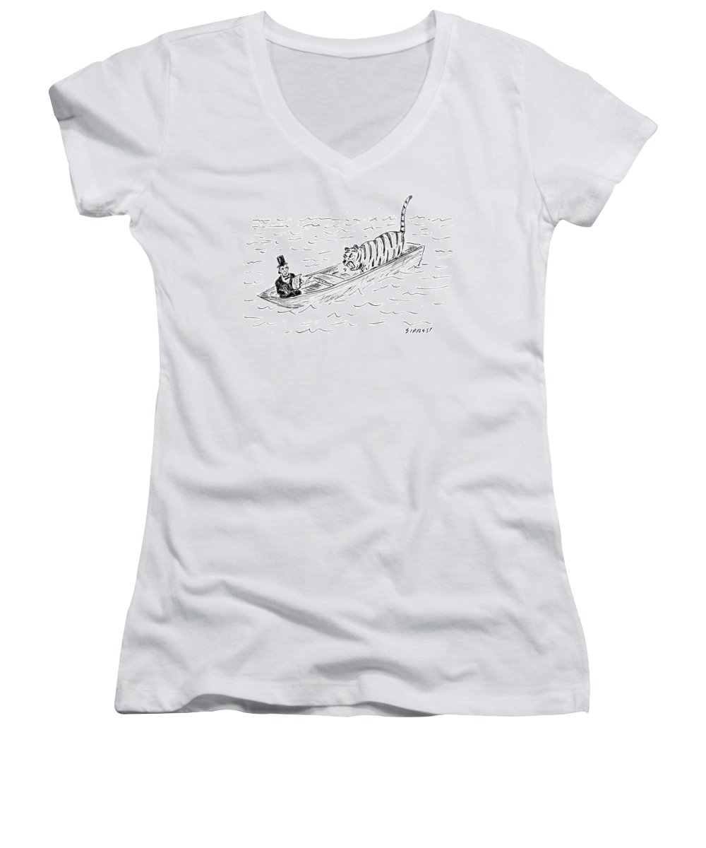 Cartoon Women's V-Neck featuring the drawing Abraham Lincoln With Tiger In Boat by David Sipress
