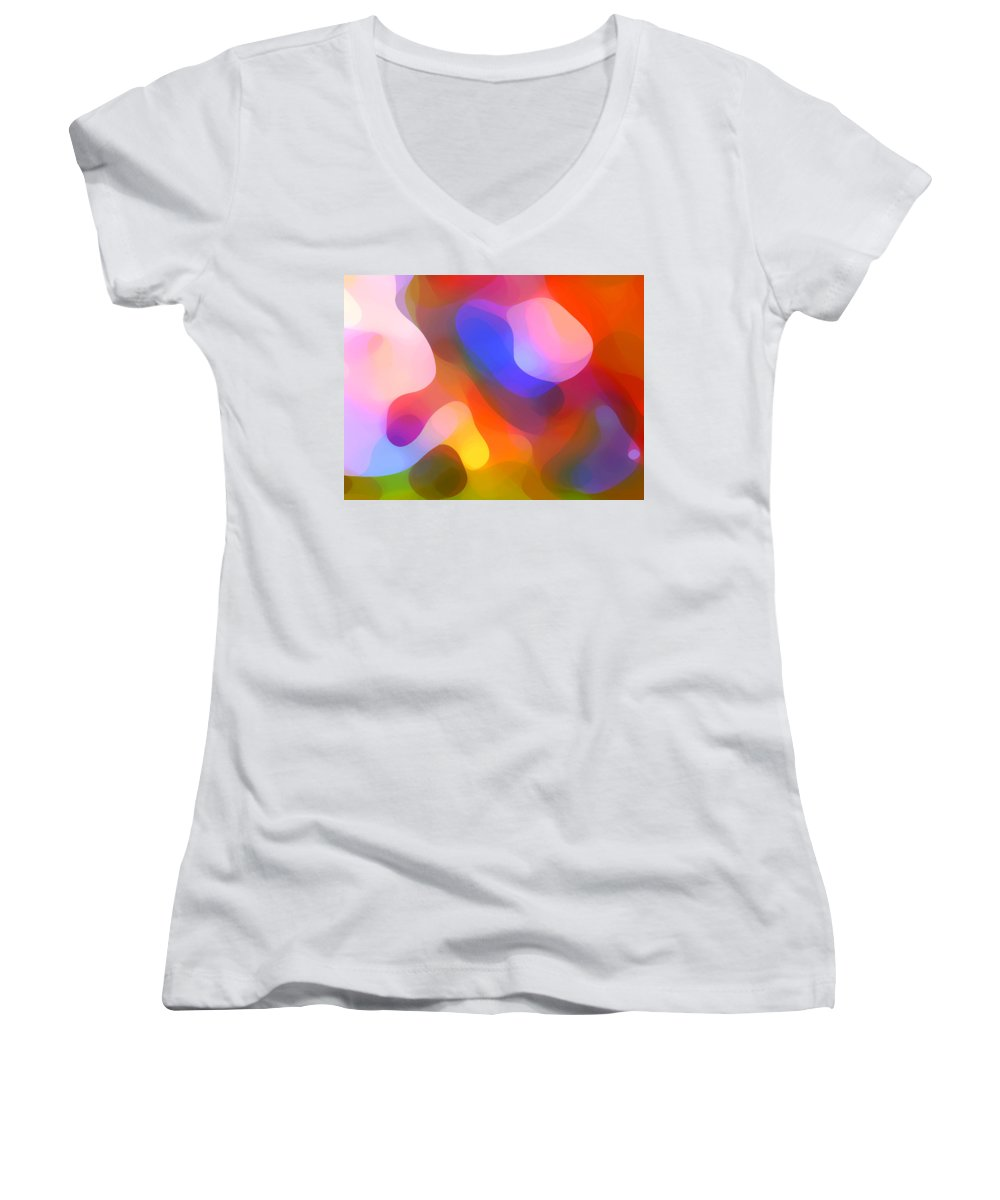 Abstract Art Women's V-Neck T-Shirt featuring the painting Abstract Dappled Sunlight by Amy Vangsgard