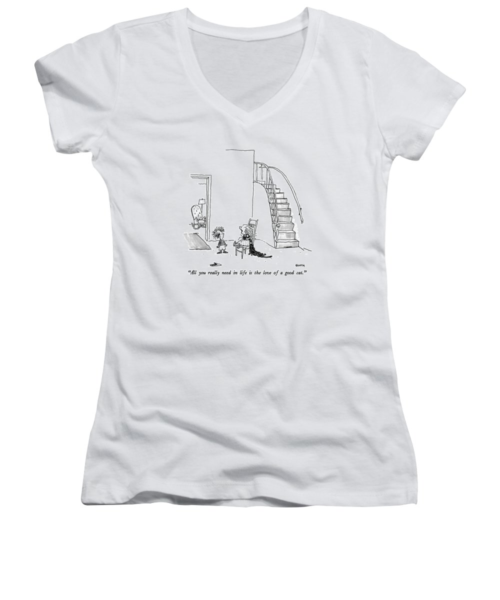 Animals Women's V-Neck featuring the drawing All You Really Need In Life Is The Love Of A Good by George Booth