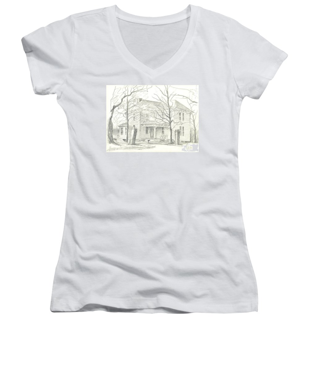 American Home Ii Women's V-Neck (Athletic Fit) featuring the drawing American Home II by Kip DeVore