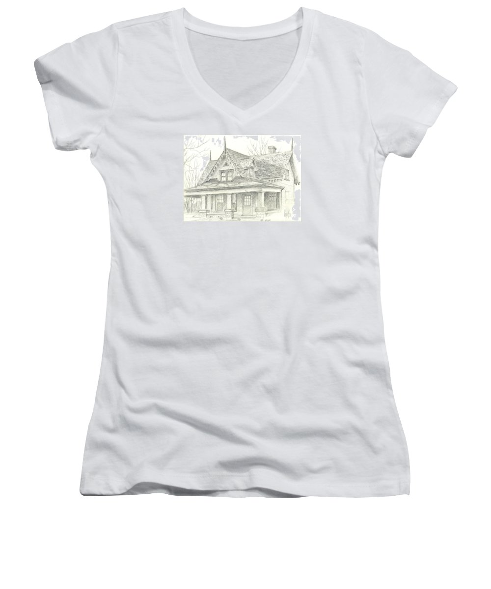 American Home Women's V-Neck T-Shirt featuring the drawing American Home by Kip DeVore