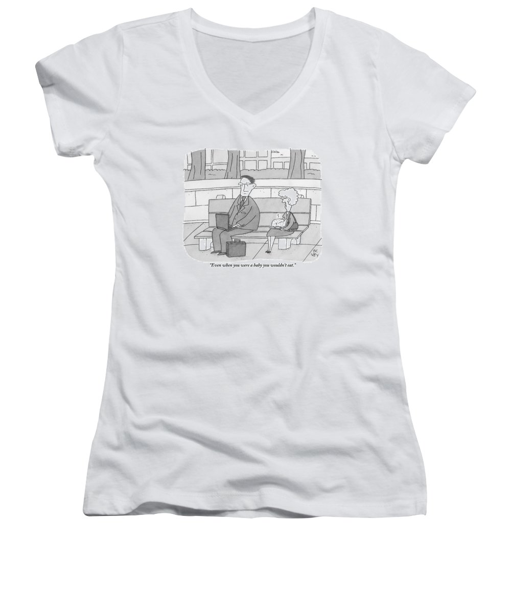Mothers Women's V-Neck featuring the drawing An Elderly Mother Holding A Turkey Scolds by Peter C. Vey