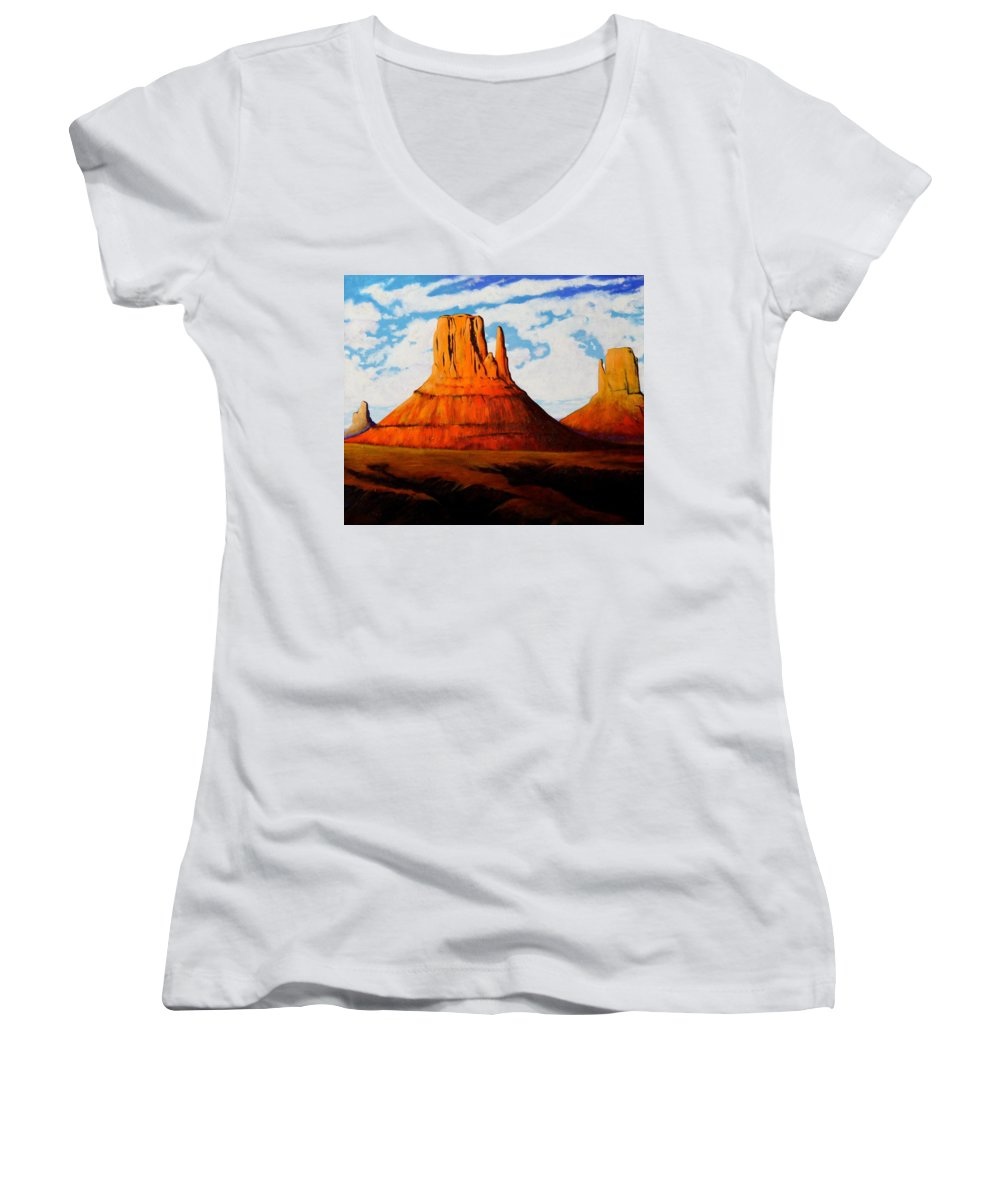 Landscape Of Western Usa Women's V-Neck T-Shirt featuring the painting Ancient Land Monument Valley by Joe Triano