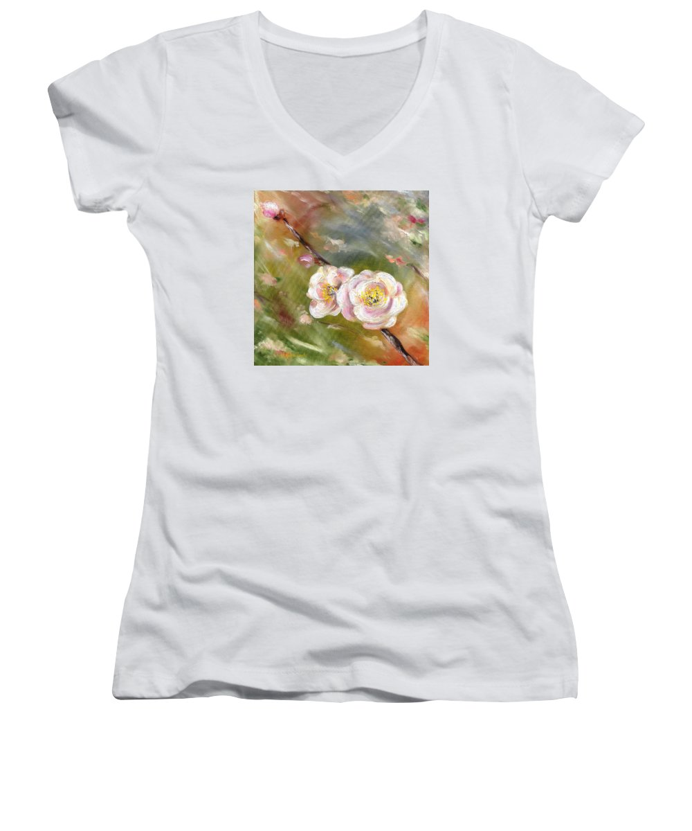 Flower Women's V-Neck (Athletic Fit) featuring the painting Anniversary by Hiroko Sakai