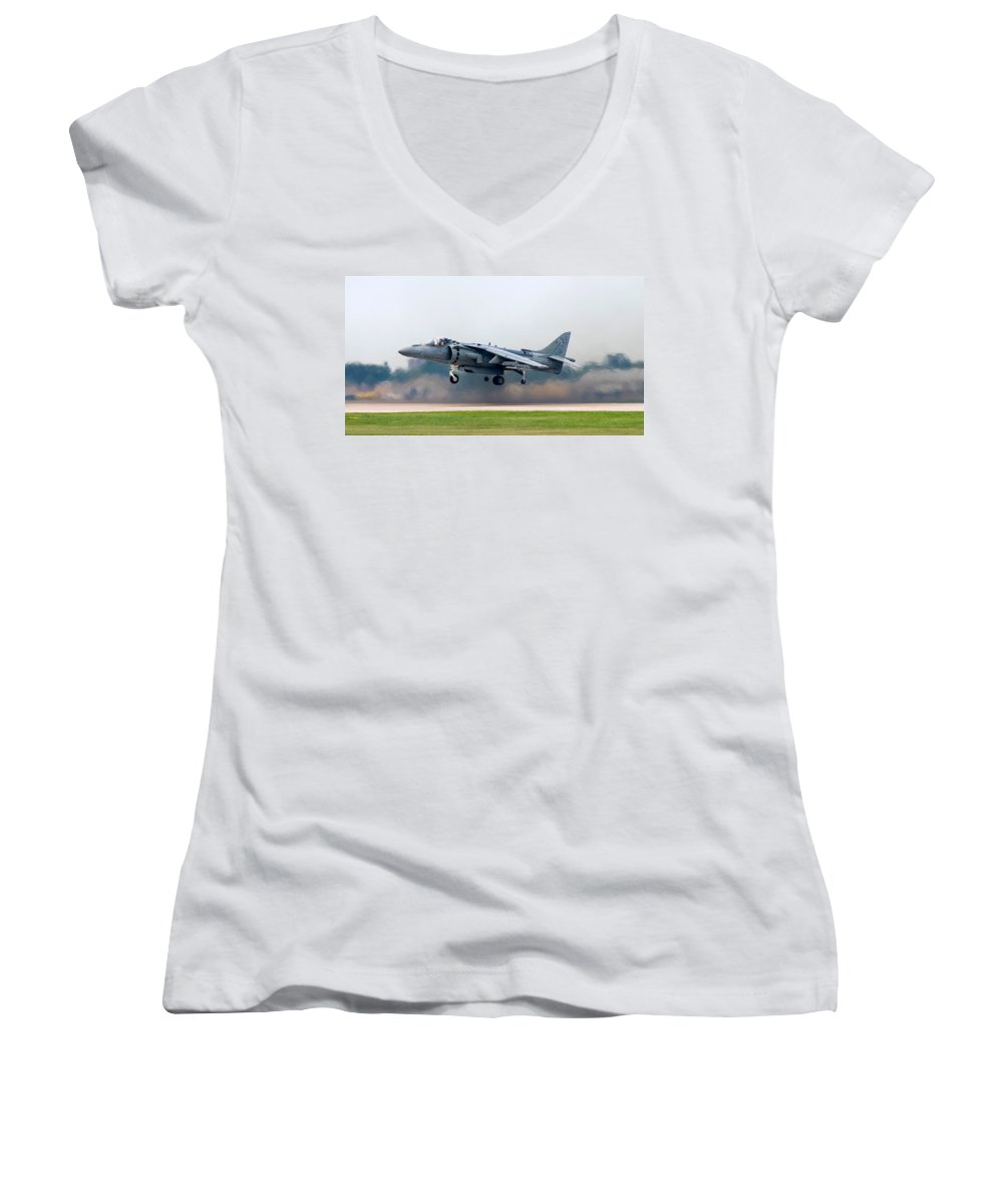 3scape Women's V-Neck (Athletic Fit) featuring the photograph Av-8b Harrier by Adam Romanowicz