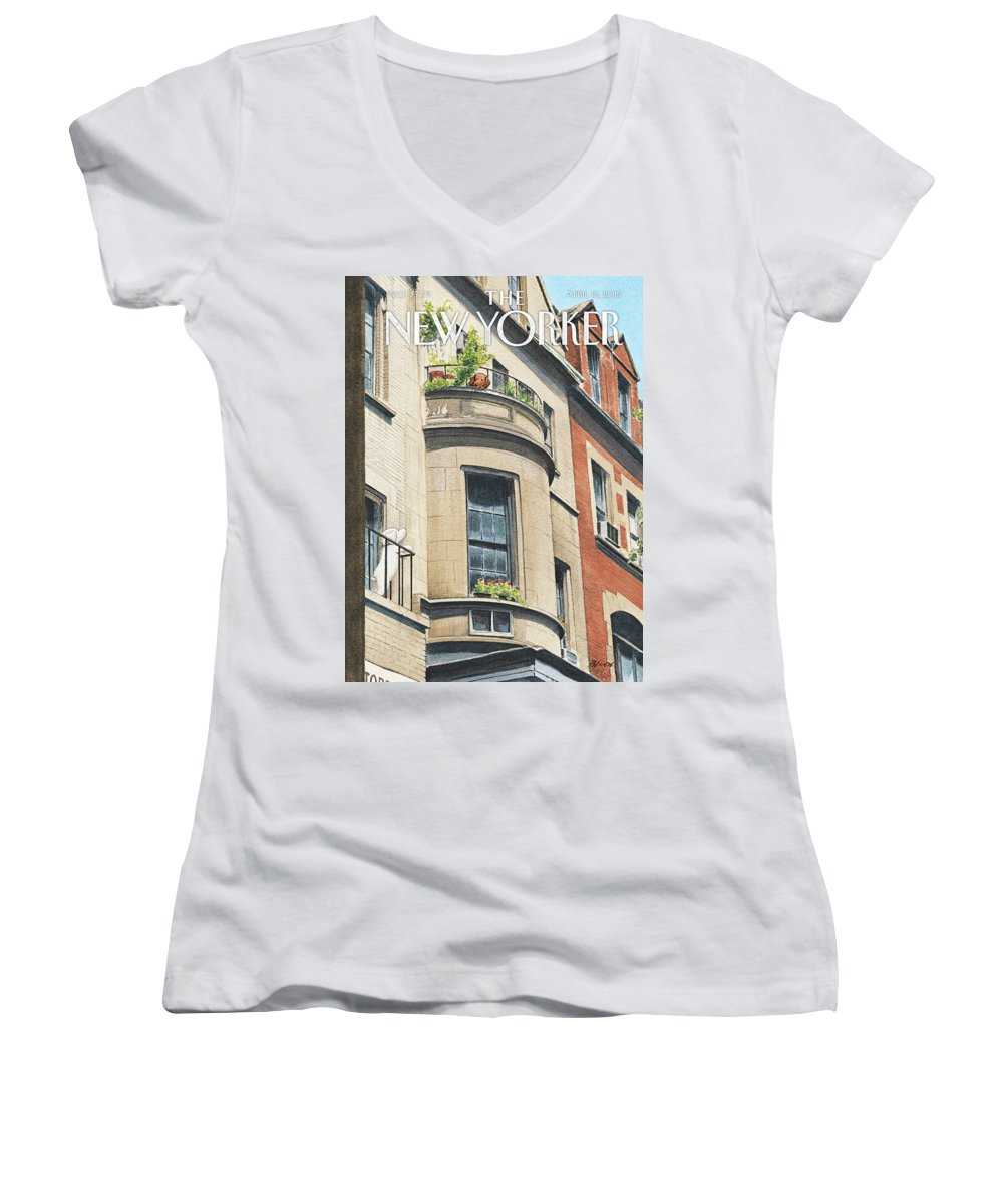 Dog Women's V-Neck featuring the painting Balcony Scene by Harry Bliss