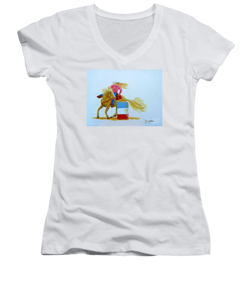 Rodeo Women's V-Neck T-Shirt featuring the painting Barrel Racer by Anthony Dunphy