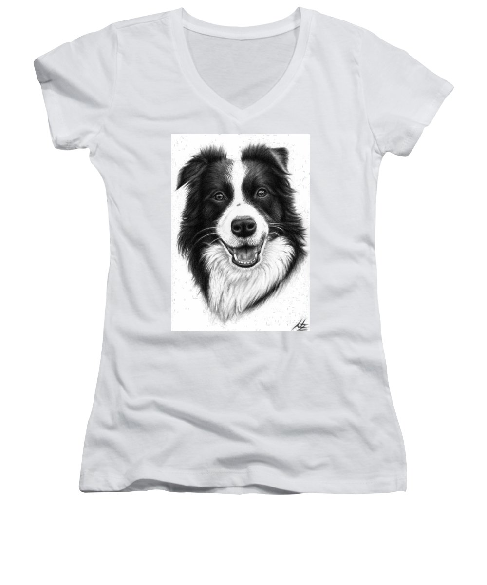 Dog Women's V-Neck (Athletic Fit) featuring the drawing Border Collie by Nicole Zeug