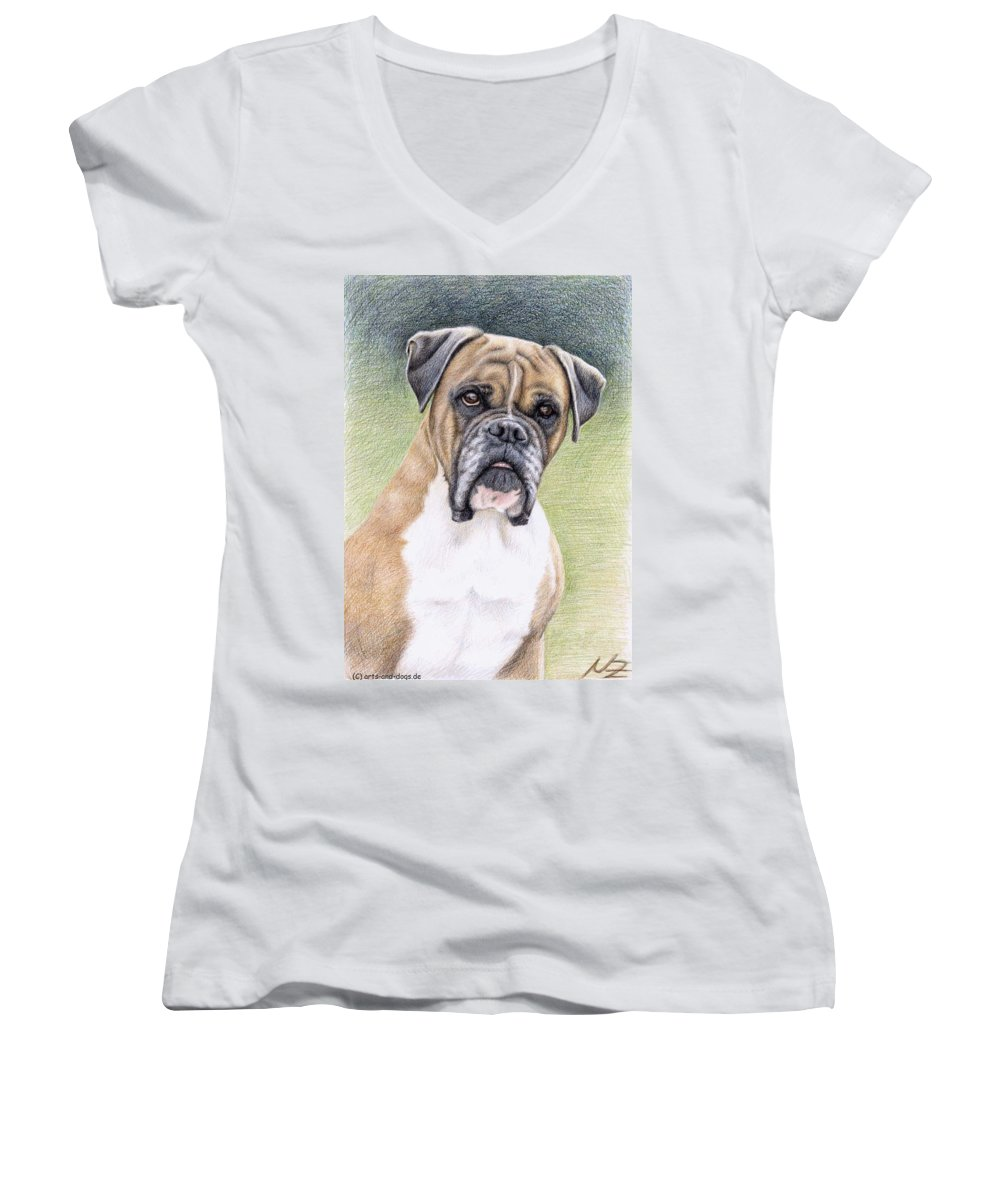 Dog Women's V-Neck T-Shirt featuring the drawing Boxer Portrait by Nicole Zeug