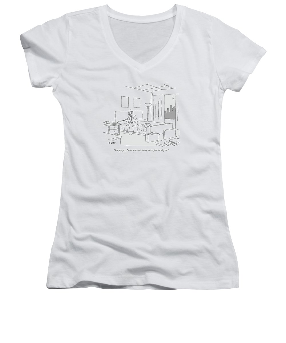 Relationships Pets Travel Problems  (businessman Sitting On A Bed In Hotel Room Talking On The Phone.) 121246 Jzi Jack Ziegler Topziegler Women's V-Neck featuring the drawing Businessman Sitting On A Bed In Hotel Room by Jack Ziegler