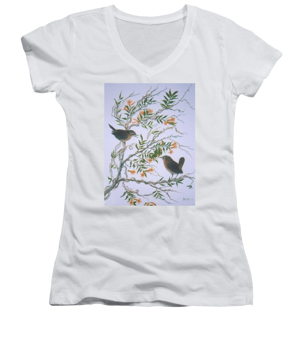 Bird; Flowers Women's V-Neck T-Shirt featuring the painting Carolina Wren And Jasmine by Ben Kiger