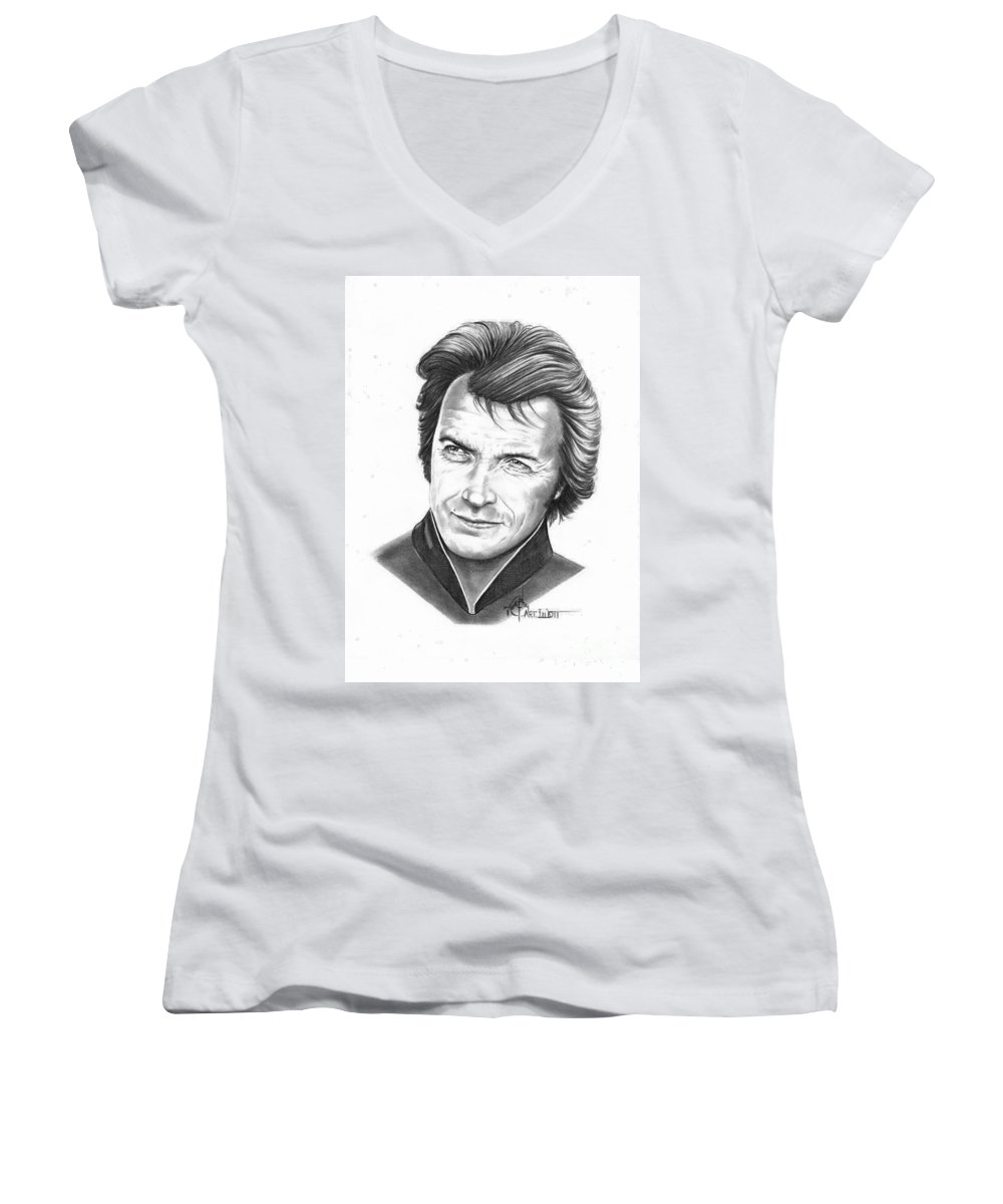 Portrait Women's V-Neck T-Shirt featuring the drawing Clint Eastwood by Murphy Elliott