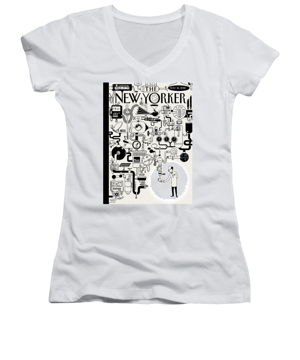 142340 Women's V-Neck featuring the painting Coffee Break by Christoph Niemann