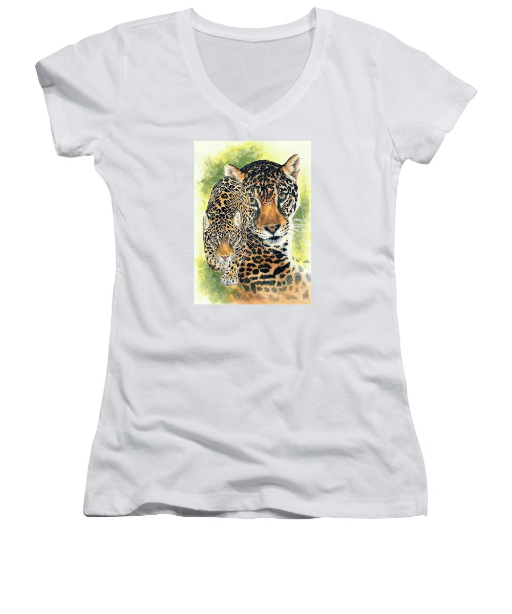 Jaguar Women's V-Neck T-Shirt featuring the mixed media Compelling by Barbara Keith