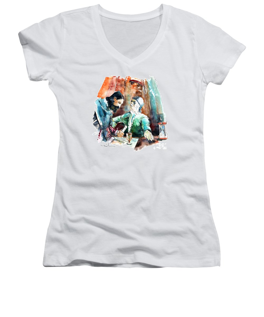 Portugal Women's V-Neck T-Shirt featuring the painting Conquistadores On The Boat In Vila Do Conde In Portugal by Miki De Goodaboom