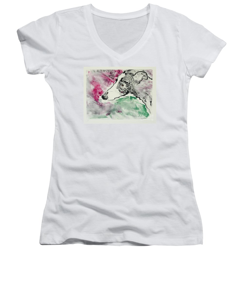 Greyhound Women's V-Neck (Athletic Fit) featuring the painting Cyrus by Cori Solomon
