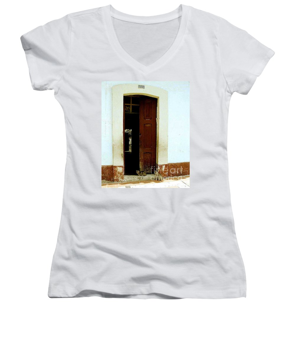 Cats Women's V-Neck (Athletic Fit) featuring the photograph Dos Puertas Con Dos Gatos by Kathy McClure