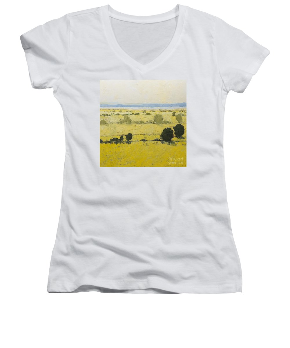 Landscape Women's V-Neck (Athletic Fit) featuring the painting Dry Grass by Allan P Friedlander