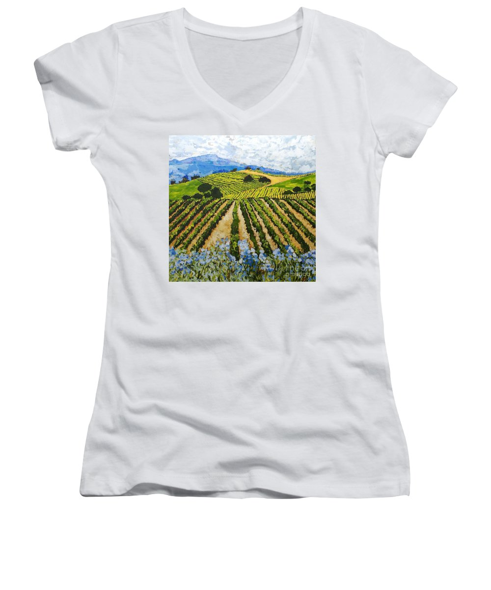 Landscape Women's V-Neck T-Shirt featuring the painting Early Crop by Allan P Friedlander