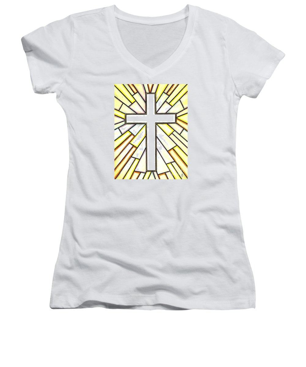 Cross Women's V-Neck (Athletic Fit) featuring the painting Easter Cross 3 by Jim Harris