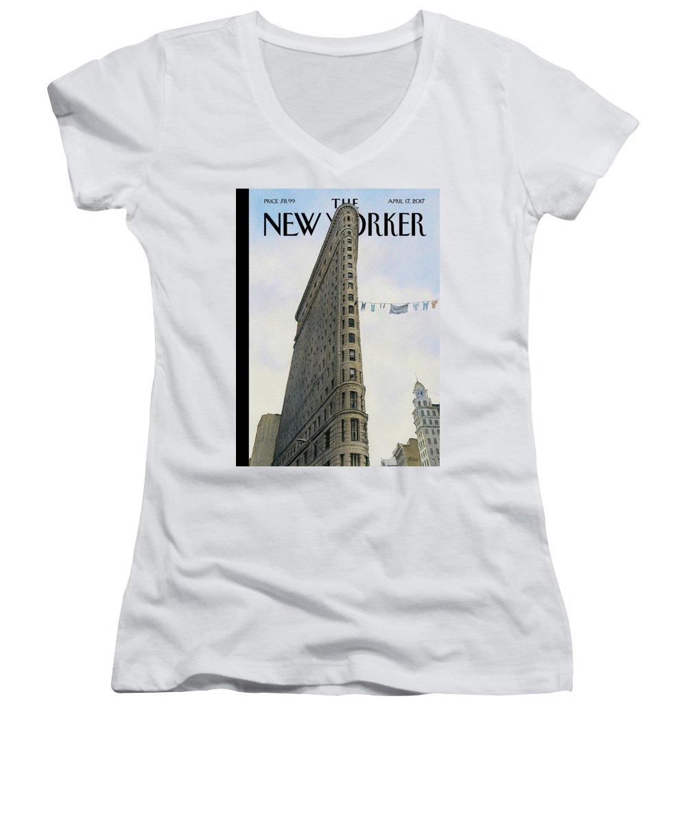Fashion District Women's V-Neck featuring the painting Fashion District by Harry Bliss