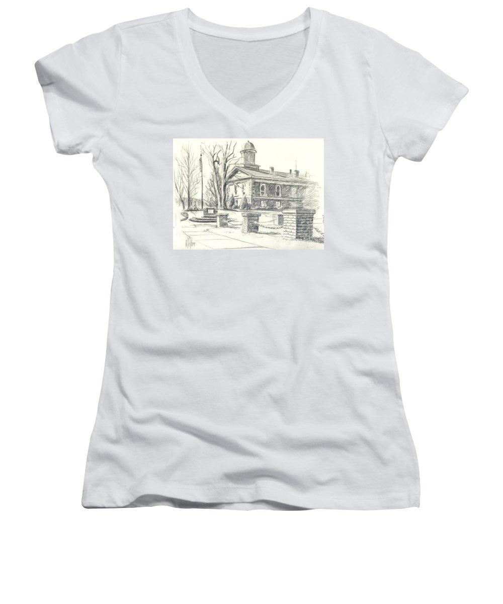 February Morning No Ctc102 Women's V-Neck T-Shirt featuring the drawing February Morning No Ctc102 by Kip DeVore