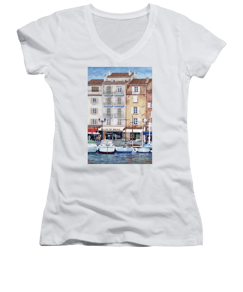St. Tropez Women's V-Neck T-Shirt featuring the painting Filles Du Soleil by Danielle Perry