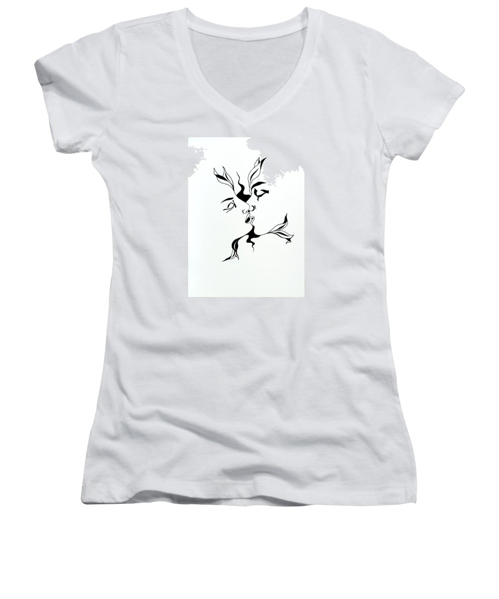 Love Women's V-Neck T-Shirt featuring the drawing First Kiss by Yelena Tylkina