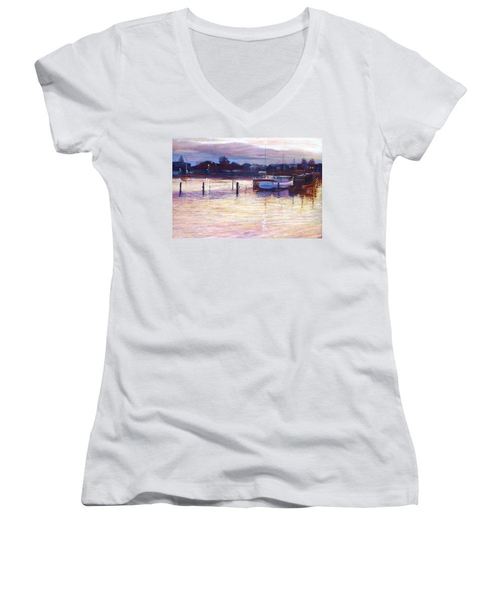 Lynda Robinson Women's V-Neck T-Shirt featuring the pastel Harbour Lights - Apollo Bay by Lynda Robinson