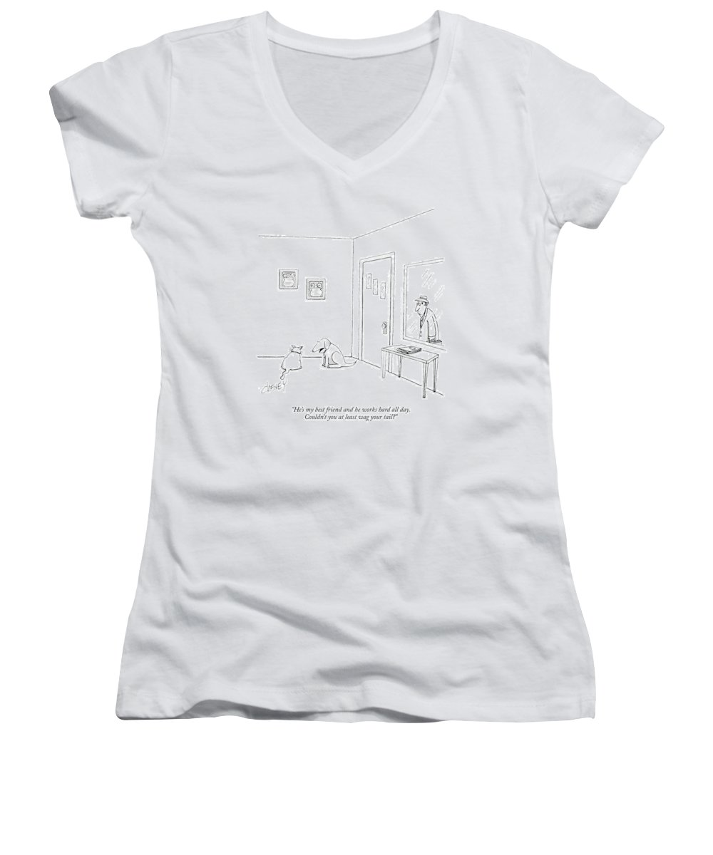 Animals Women's V-Neck featuring the drawing He's My Best Friend And He Works Hard All Day by Tom Cheney