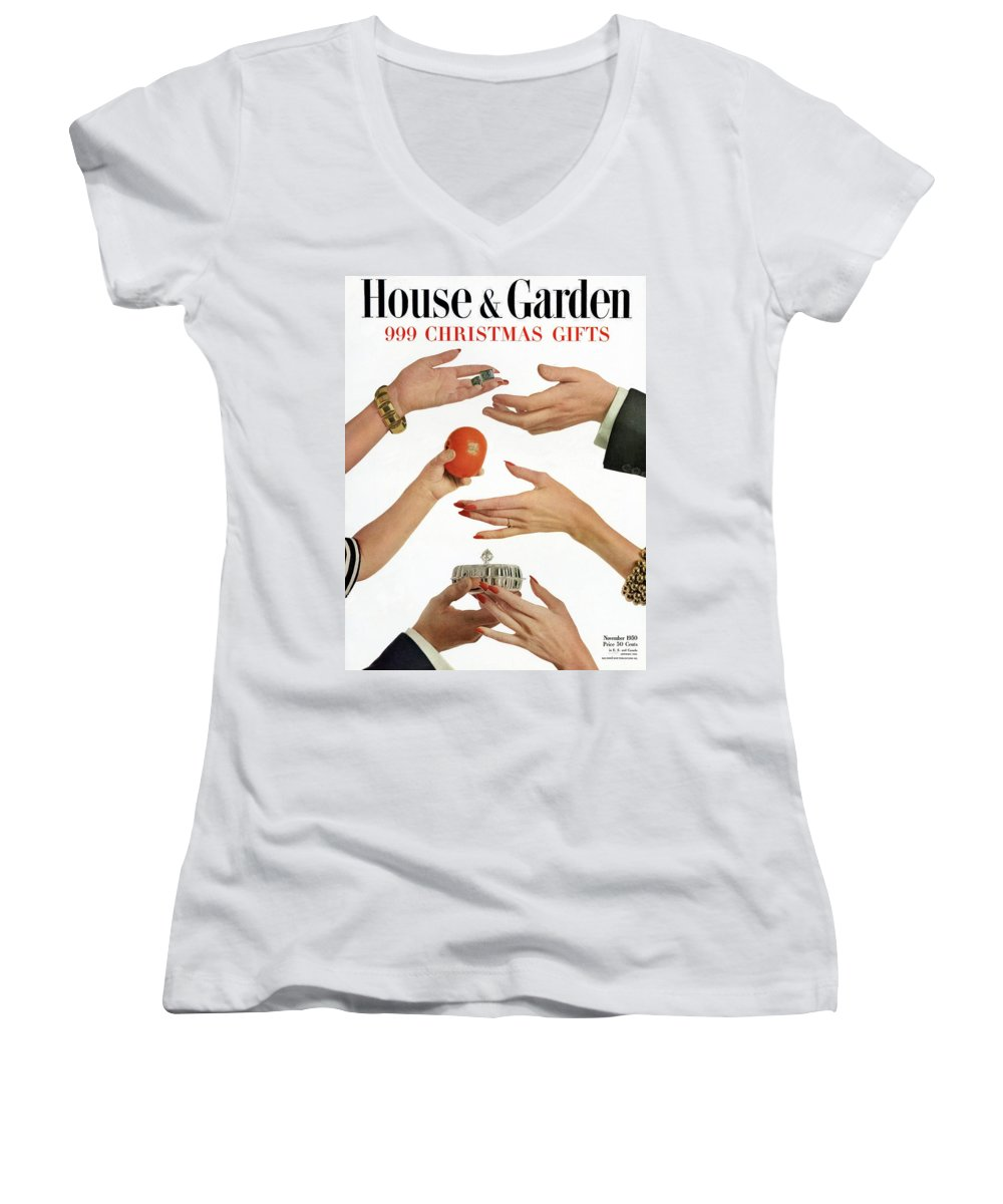 House And Garden Women's V-Neck featuring the photograph House And Garden 999 Christmas Gifts Cover by Herbert Matter