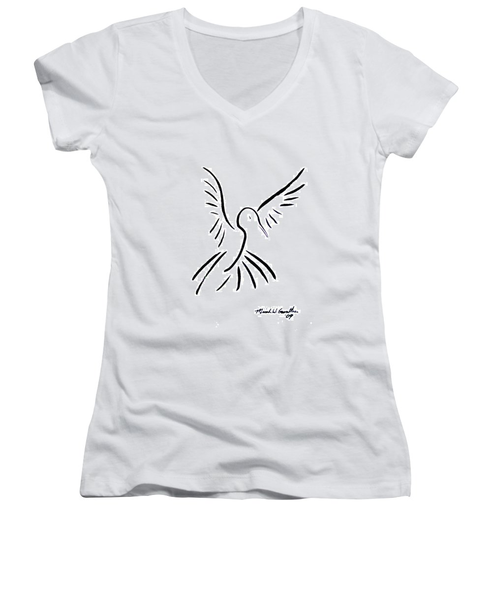 Bird Women's V-Neck T-Shirt featuring the drawing Hummingbird by Micah Guenther