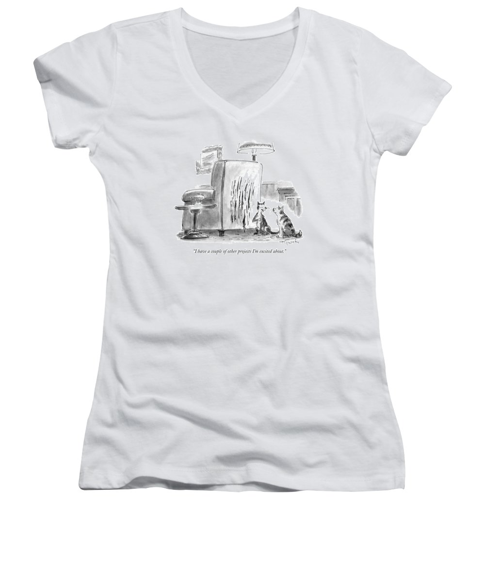 Artists Women's V-Neck featuring the drawing I Have A Couple Of Other Projects I'm Excited by Mike Twohy