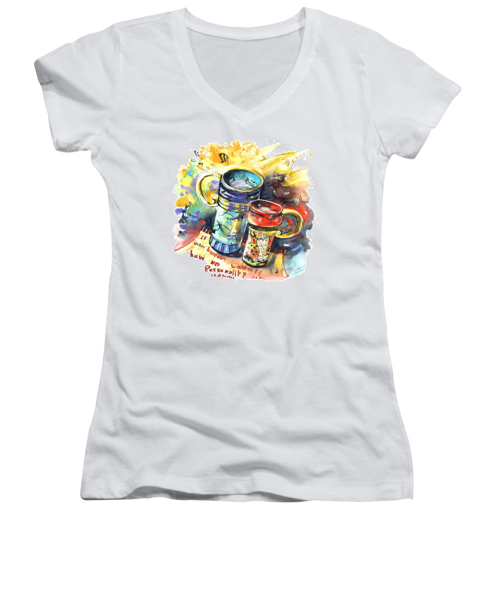 Cafe Crem Women's V-Neck T-Shirt featuring the painting If It Were Not For Caffeine by Miki De Goodaboom