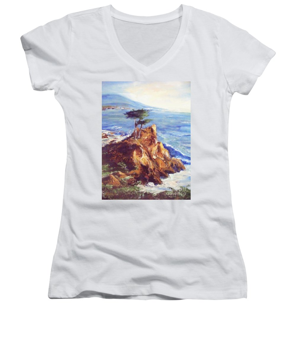 Seascape Women's V-Neck (Athletic Fit) featuring the painting Imaginary Cypress by Eric Schiabor