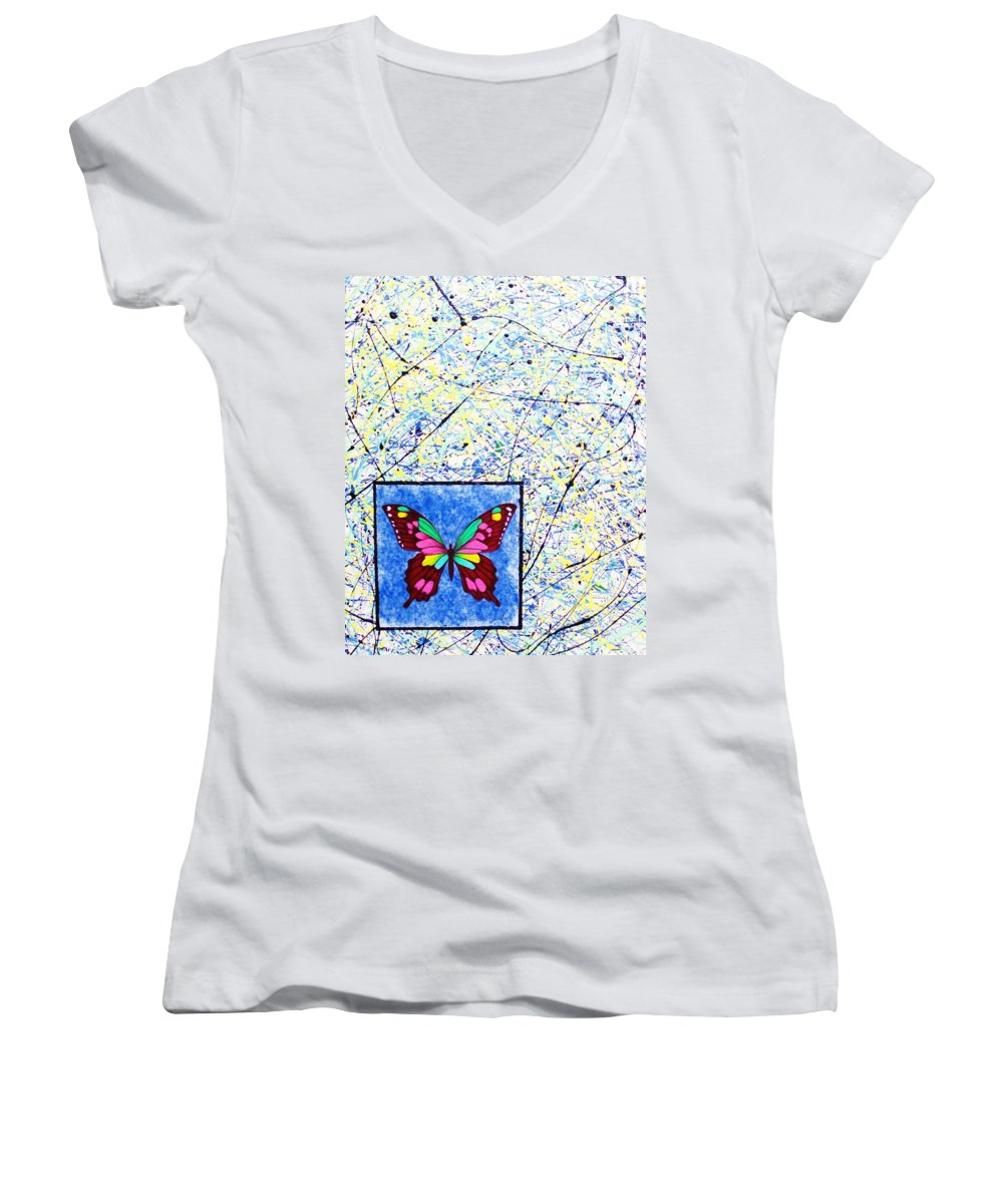 Abstract Women's V-Neck T-Shirt featuring the painting Imperfect I by Micah Guenther