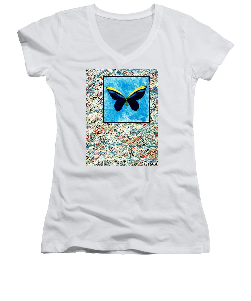 Abstract Women's V-Neck (Athletic Fit) featuring the painting Imperfect II by Micah Guenther