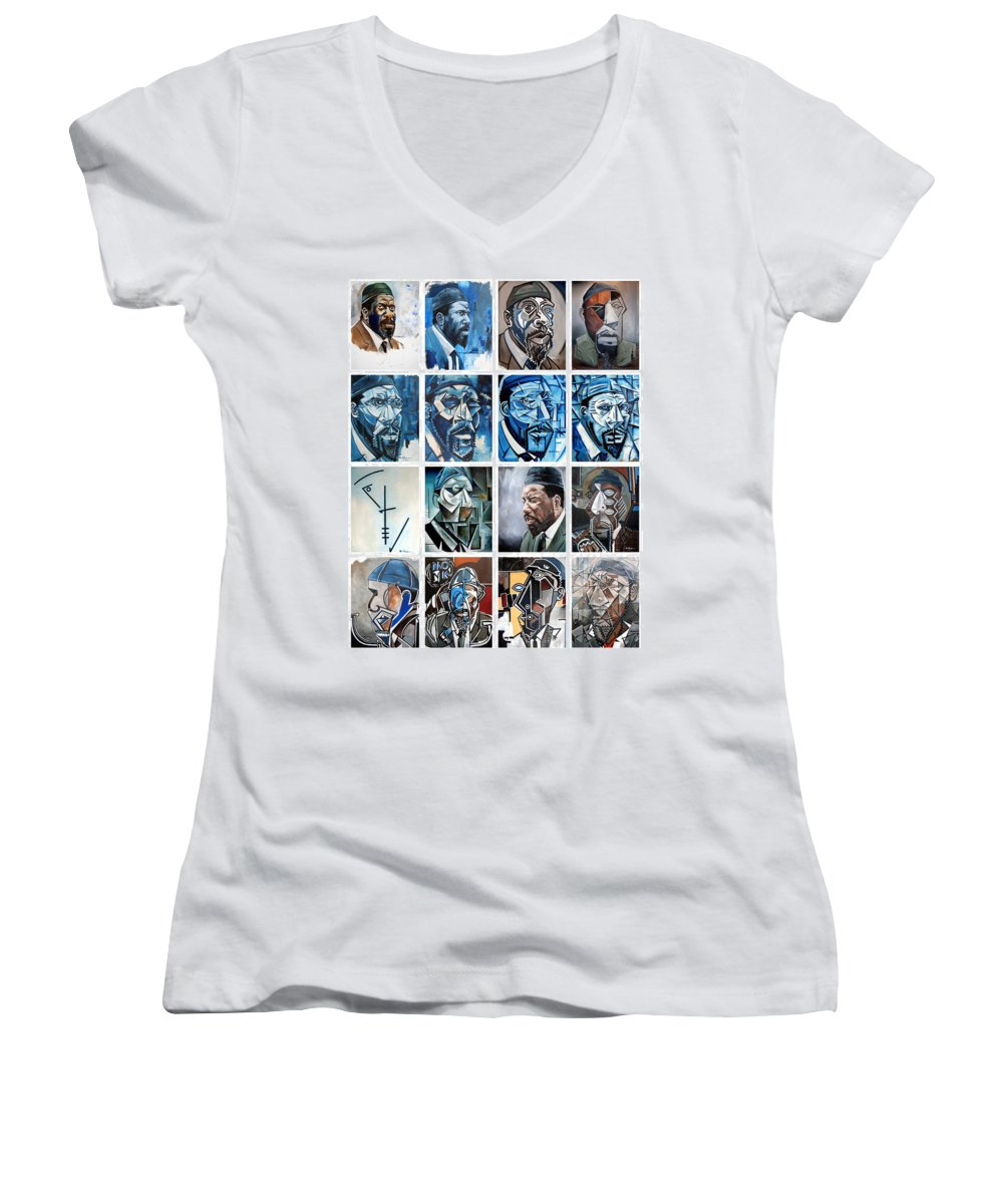 Jazz Piano Thelonious Monk Portrait Cubism Abstract Women's V-Neck (Athletic Fit) featuring the painting Improvised Metamorphoses by Martel Chapman
