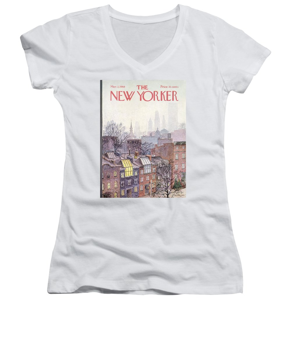 Albert Hubbell Ahu Women's V-Neck featuring the painting New Yorker March 2, 1968 by Albert Hubbell