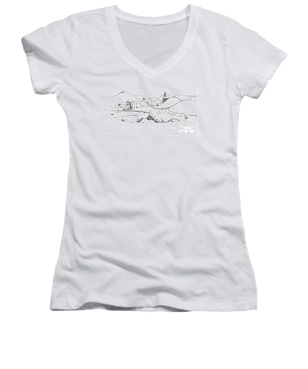 In The Land Of Brigadoon Women's V-Neck T-Shirt featuring the drawing In The Land Of Brigadoon by Kip DeVore