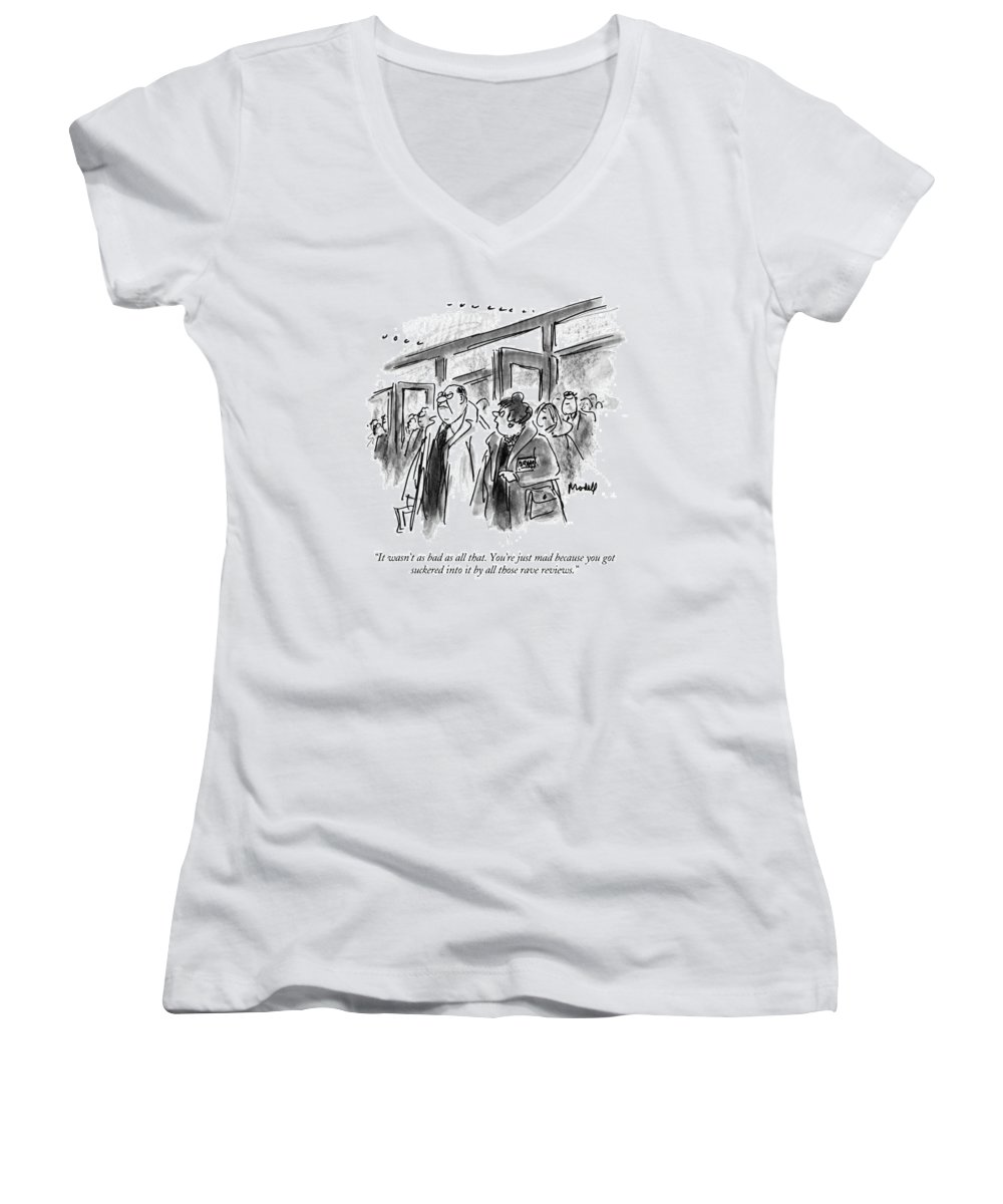 (woman Talking To Angry Husband As They Leave Theater) Entertainment Women's V-Neck featuring the drawing It Wasn't As Bad As All That. You're Just Mad by Frank Modell