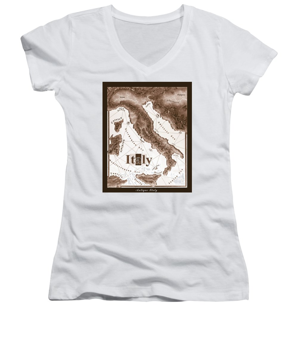 Italian Women's V-Neck T-Shirt featuring the mixed media Italian Map by Curtiss Shaffer
