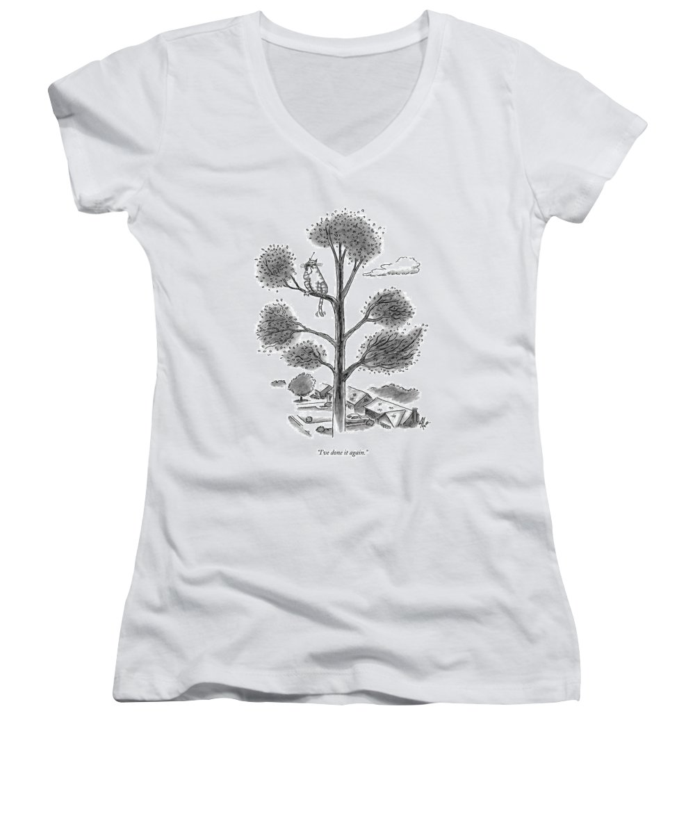 Cats Women's V-Neck featuring the drawing I've Done It Again by Frank Cotham