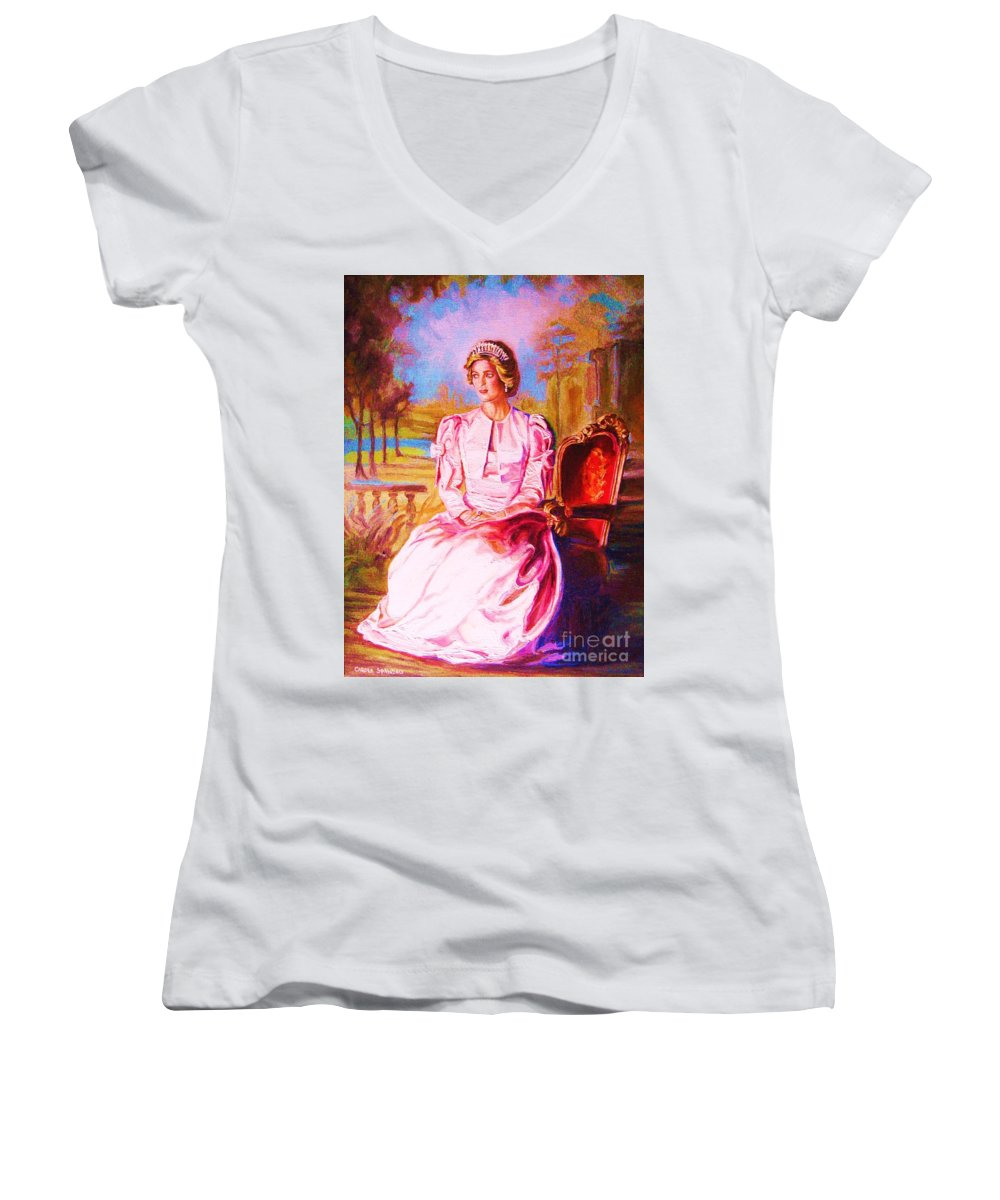 Princess Diana Women's V-Neck (Athletic Fit) featuring the painting Lady Diana Our Princess by Carole Spandau